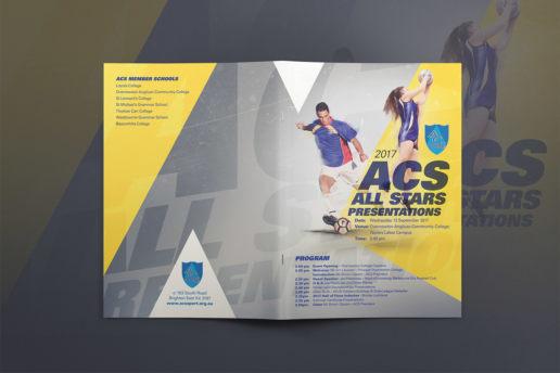 Sport brochure design for netball, football and soccer