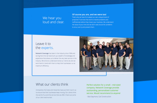 blue one page website design