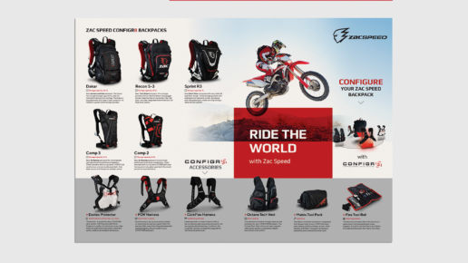 Brochure product design Zac Speed Melbourne backpacks