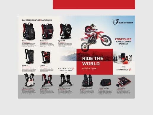 Brochure product design Zac Speed Melbourne backpacks