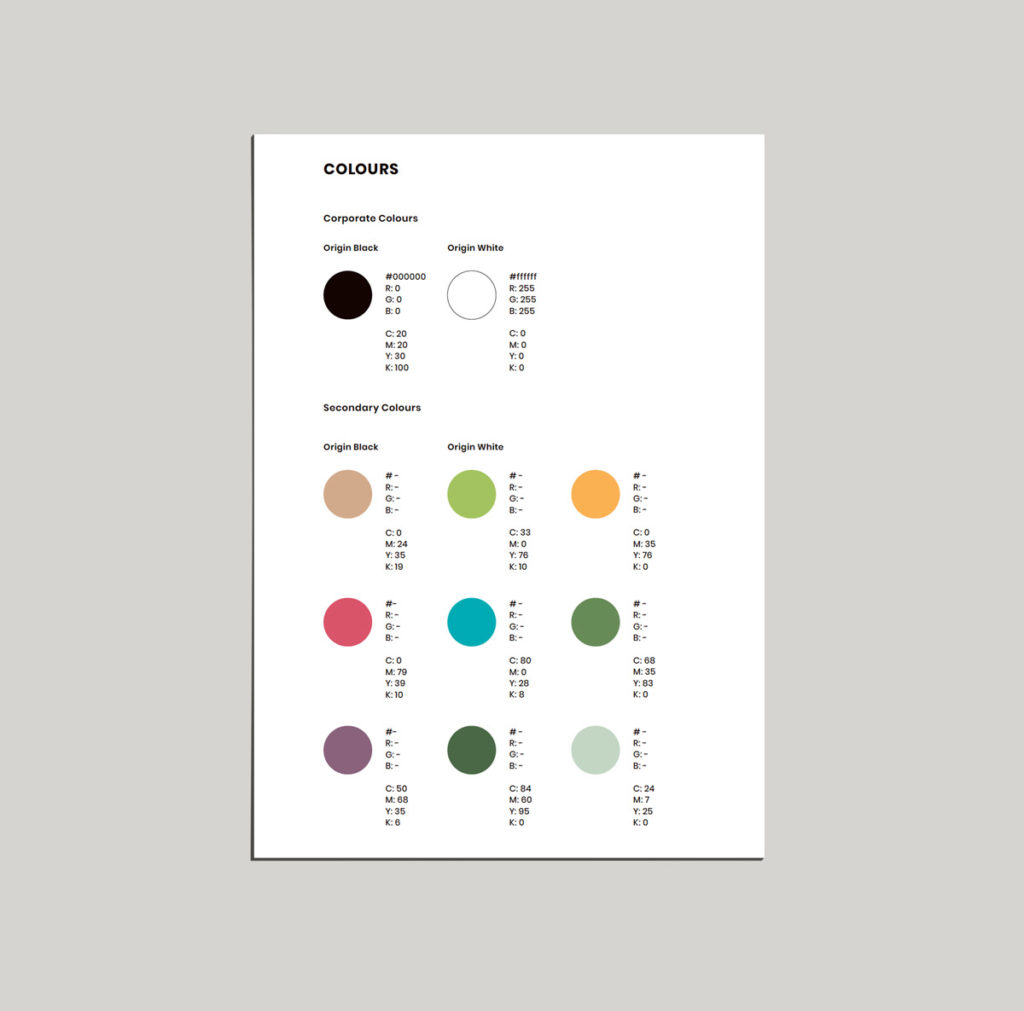 Colour use style guide for client.
