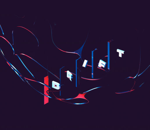 Drift abstract digital art render floating typography