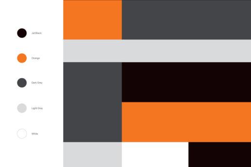 Fitness gym colour scheme black orange