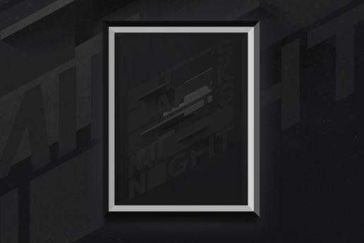 Framed dark abstract art 3d type based