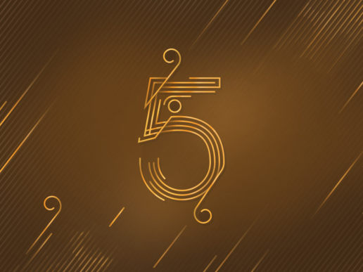 number 5 five design gold luxury