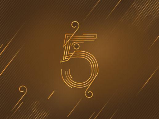 number 5 five design gold luxury