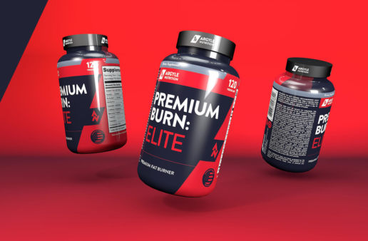 Premium Fat Burn 3D Render Label Design Freelance