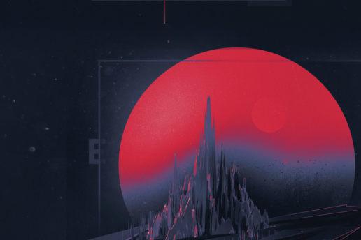 Space moon abstract dark retro design