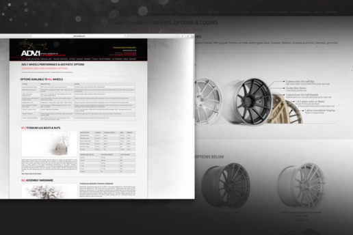 Technical wheel specifications website design