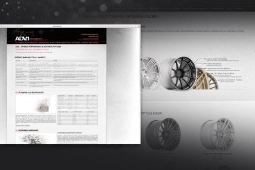 Technical wheel specifications website design